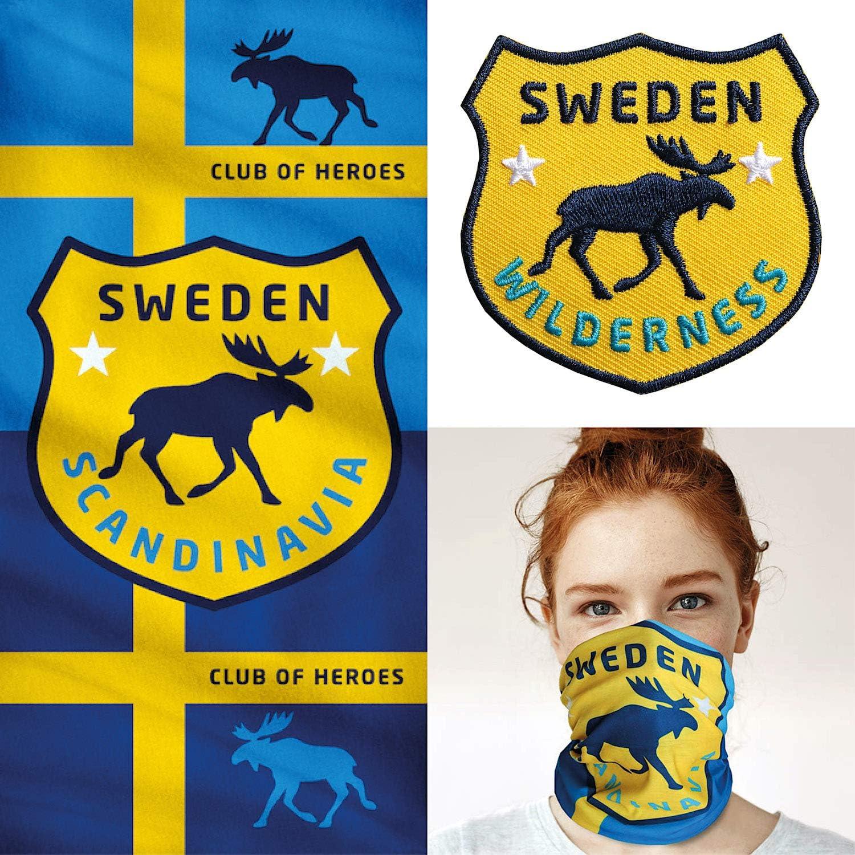 1 Multifunktionstuch//Aufn/äher Aufb/ügler Sticker gestickt//Schlauchtuch Bandana Halstuch Mundschutz//Elch schwedisch Flagge Fahne Club of Heroes Schweden Set Set 1 Patch