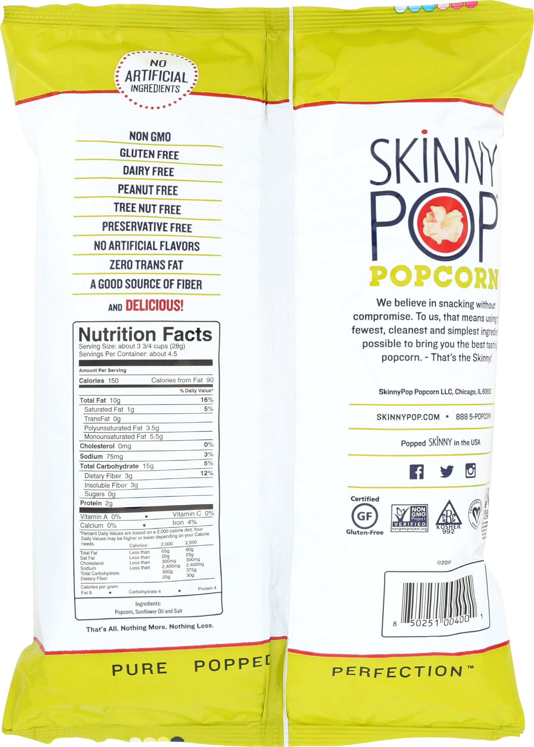 SKINNYPOP Original Popped Popcorn, Individual Bags, Gluten Free Popcorn, Non-GMO, No Artificial Ingredients, A Delicious Source of Fiber, 4.4 Ounce (Pack of 12) by SkinnyPop (Image #2)