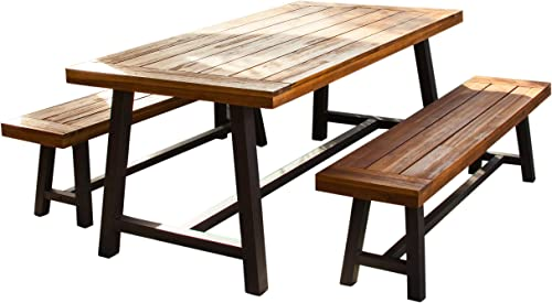 Christopher Knight Home 298403 Bowman Wood Outdoor Picnic Table Set Perfect for Dining, Brown Black Rustic Metal