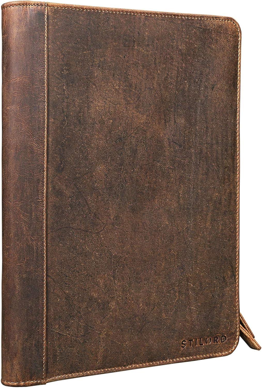 STILORD 'Julius' Portadocumentos de Cuero Estilo Vintage para conferencias Negocios o Trabajo Carpeta Organizador o clasificador DIN A4 de Piel auténtica, Color:marrón - Medio