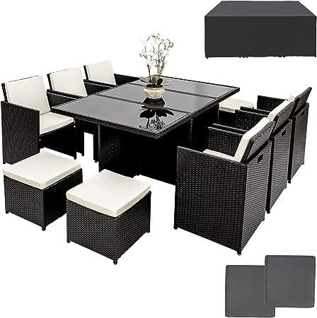 TecTake Ensemble Salon de jardin en Résine Tressée Poly Rotin Aluminium  Table Set 6+1+4 avec deux set de housses + housse de protection, vis en  acier ...