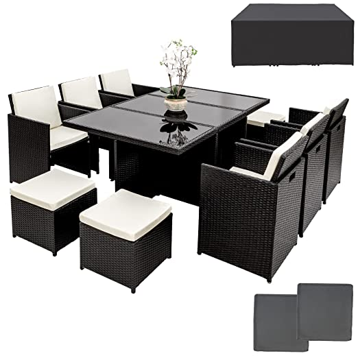 TecTake Poly ratán aluminio sintético muebles de jardín comedor juego 6+4+1 + funda completa + set de fundas intercambiables, tornillos de acero ...