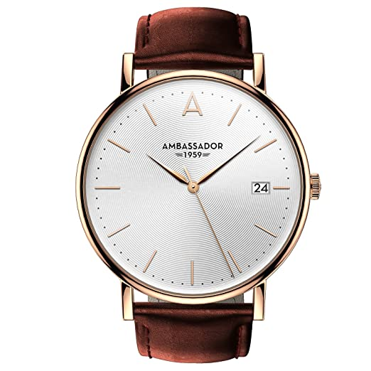 df7762b7ef8 Ambassador Luxury Watch for Men - Designer Heritage 1959 Gold Case with  Brown Leather Strap and Swiss Quality  Ambassador  Amazon.co.uk  Watches
