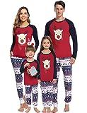 Hawiton Pijamas de Navidad Familia Conjunto Ciervo Manga Larga Top y Pantalones Largos 2 Piezas Ropa de Dormir Invierno…