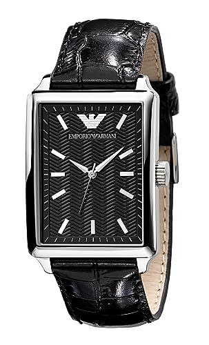 Emporio Armani Hombre Rectangular caso negro dial negro correa de cuero reloj: Amazon.es: Relojes