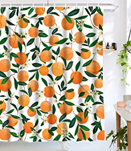 Lifeel Orange Shower Curtains, Allover Fruits Shower Curtain Round Citrus Pattern Design Waterproof Fabric Bathroom Shower Curtain Set with 12 Hooks, Orange Green