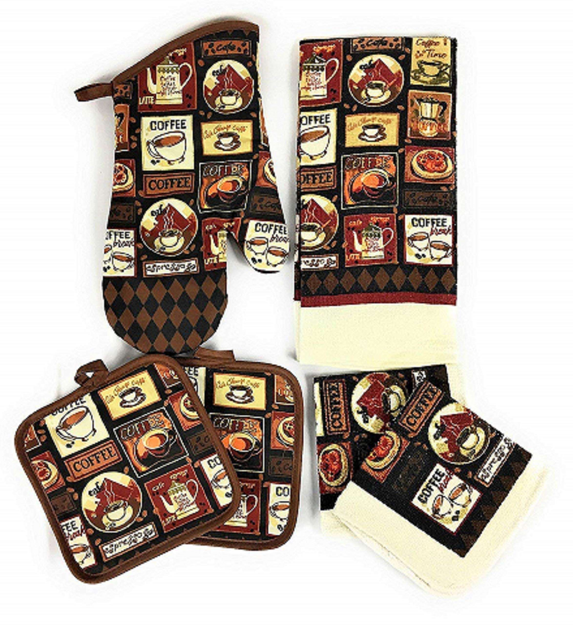 Kitchen Linens - Coffee Cafe - Towel Linen Set of 6 Pieces Coffee Themed Design - Kitchen Towel 2 Potholders 2 Scrubber Dishcloths 1 Oven Mitt - Linen Coffee Set - Oven Mitts - Kitchen Decor