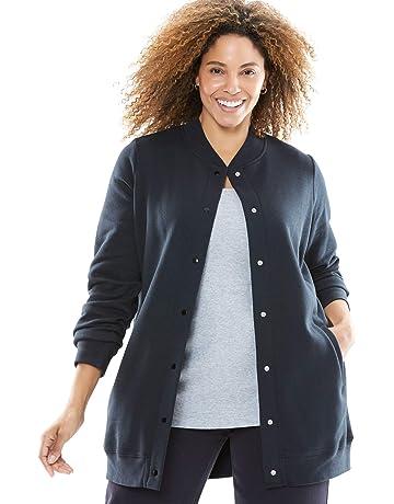 550410a79c Woman Within Women s Plus Size Fleece Baseball Jacket