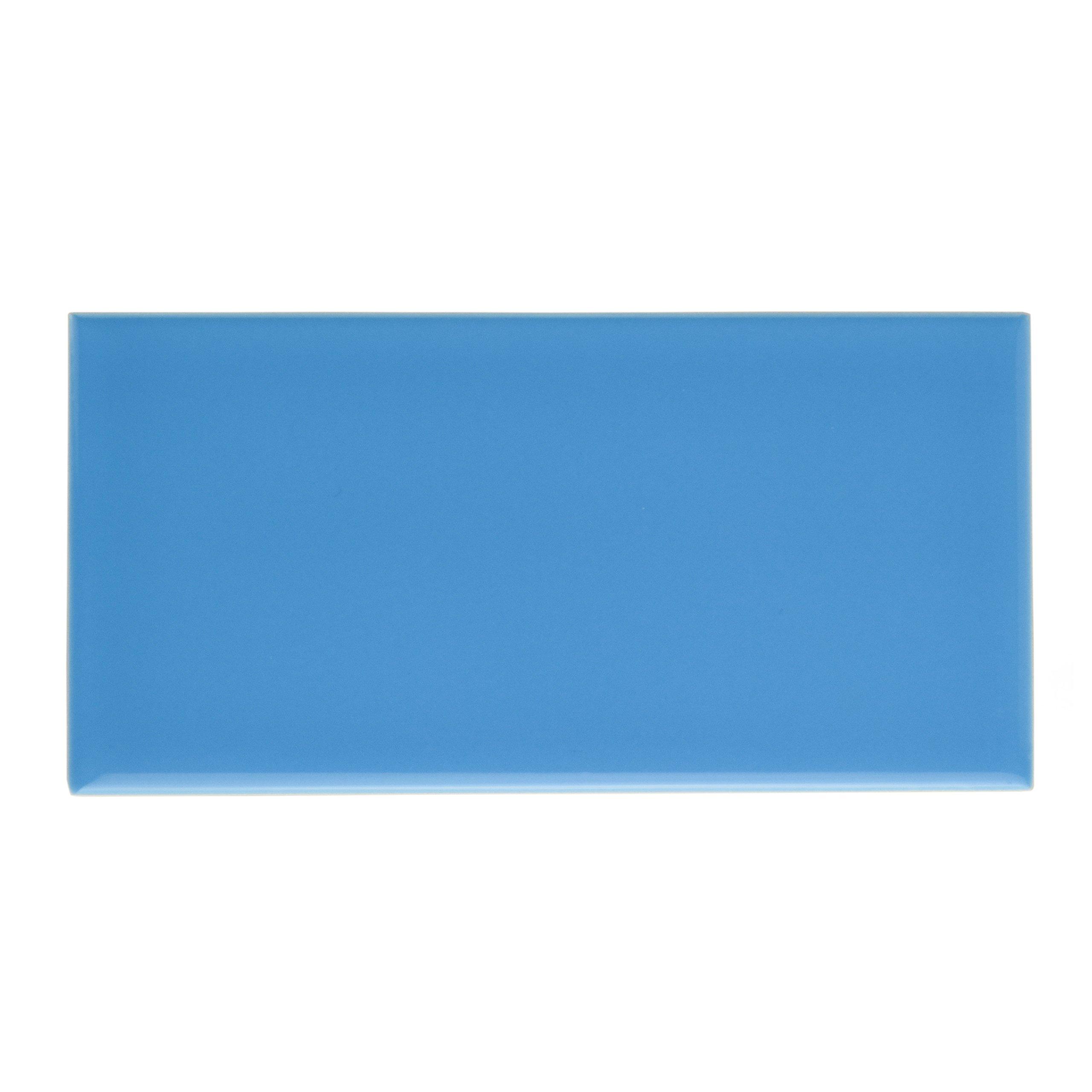 SomerTile WXR3PSCB Pente Subway Ceramic Wall Tile, 3'' x 6'', Glossy Calm Blue by SOMERTILE