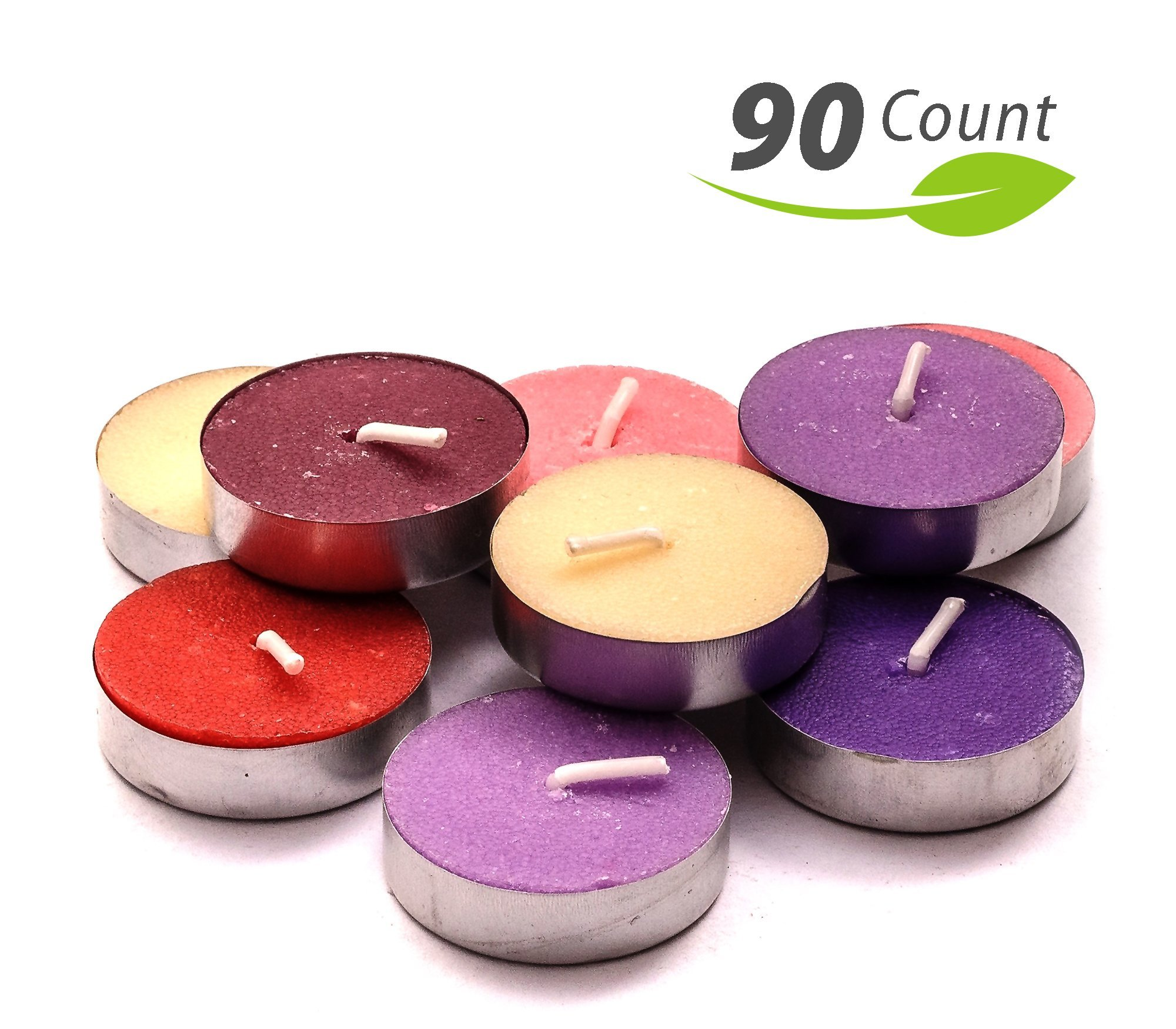 Exquizite Variety Collection - Highly Scented Luxury Tealight Candles - 90 pcs - Set of 15 Tealights with 6 Fragrances - Lavender, French Vanilla, Rose, Apple Cinnamon, Lilac and Black Cherry