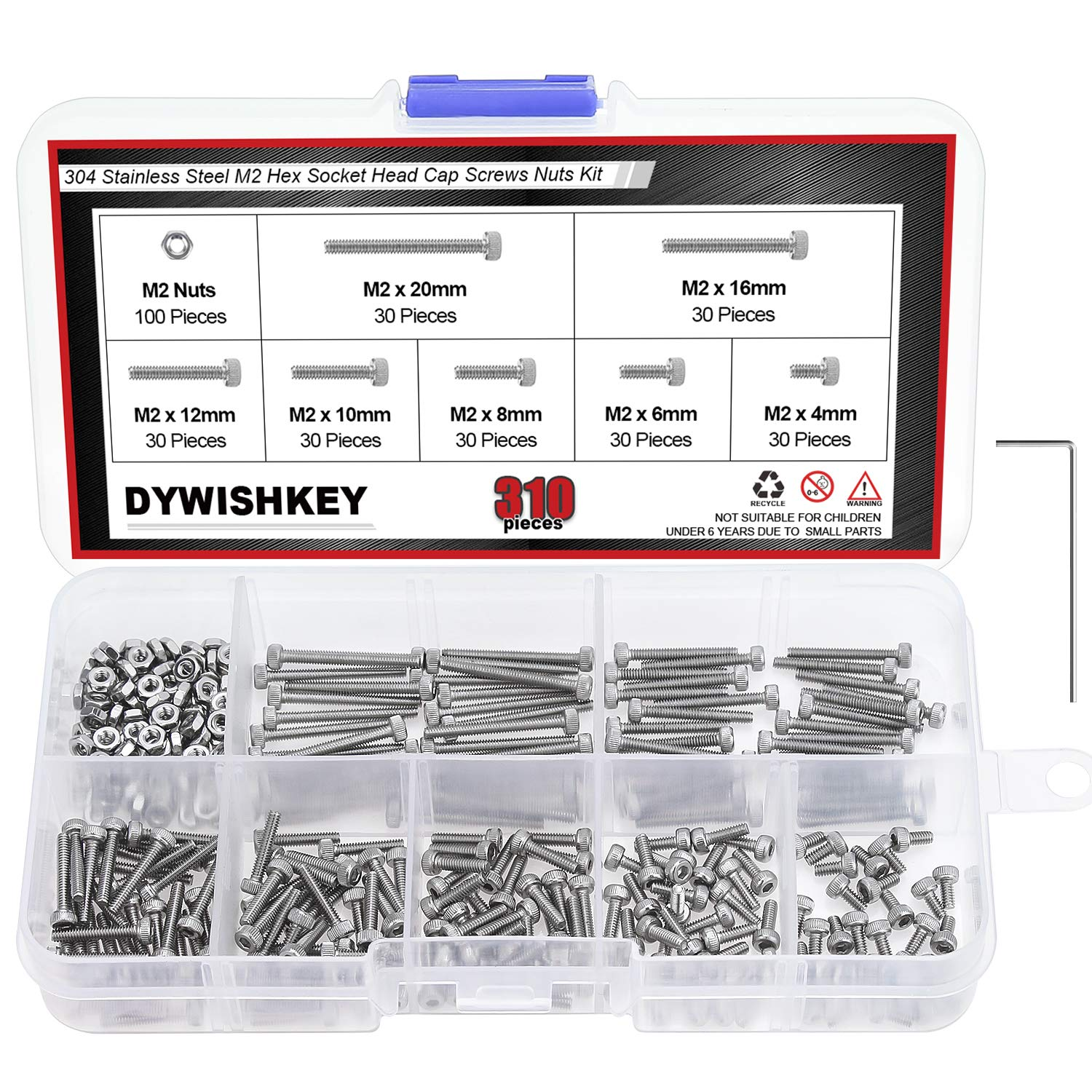 304 Stainless Steel Hilitchi 420pcs M2 3 4 304 Stainless Steel Hex Socket Head Cap Screws Nuts Assortment Kit with Box