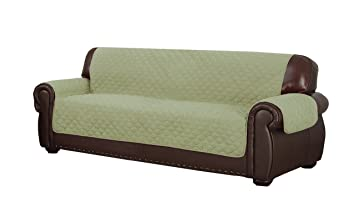 Charmant Duck River Textiles Reynold Reversible Water Resistant Sofa Cover In  Sage/Chocolate (with Pockets