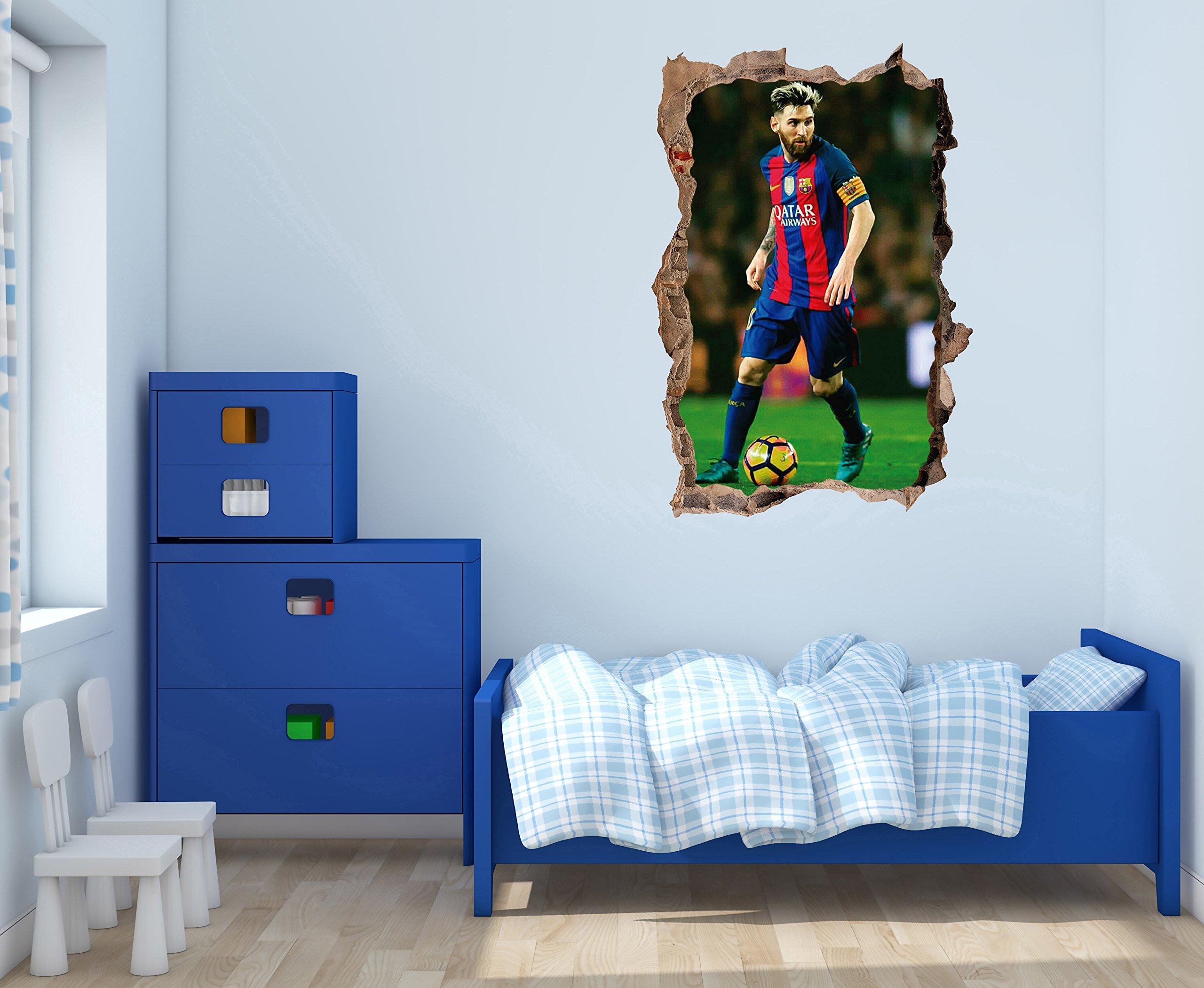 Lionel Messi decal - 3D Smashed wall - Wall Decal For Home bedroom Hall Decoration (Wide 20''x30'' Height Inches)