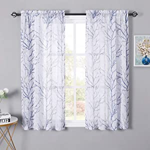 NICETOWN Grey/Navy Blue Branch Pattern Linen Blend Woven Sheer Curtains, Pocket Top Decorative Modern Plant Print On White Semi Sheer Drapes with Light Filter for Brighten Room, W50 x L63, 2 Pieces