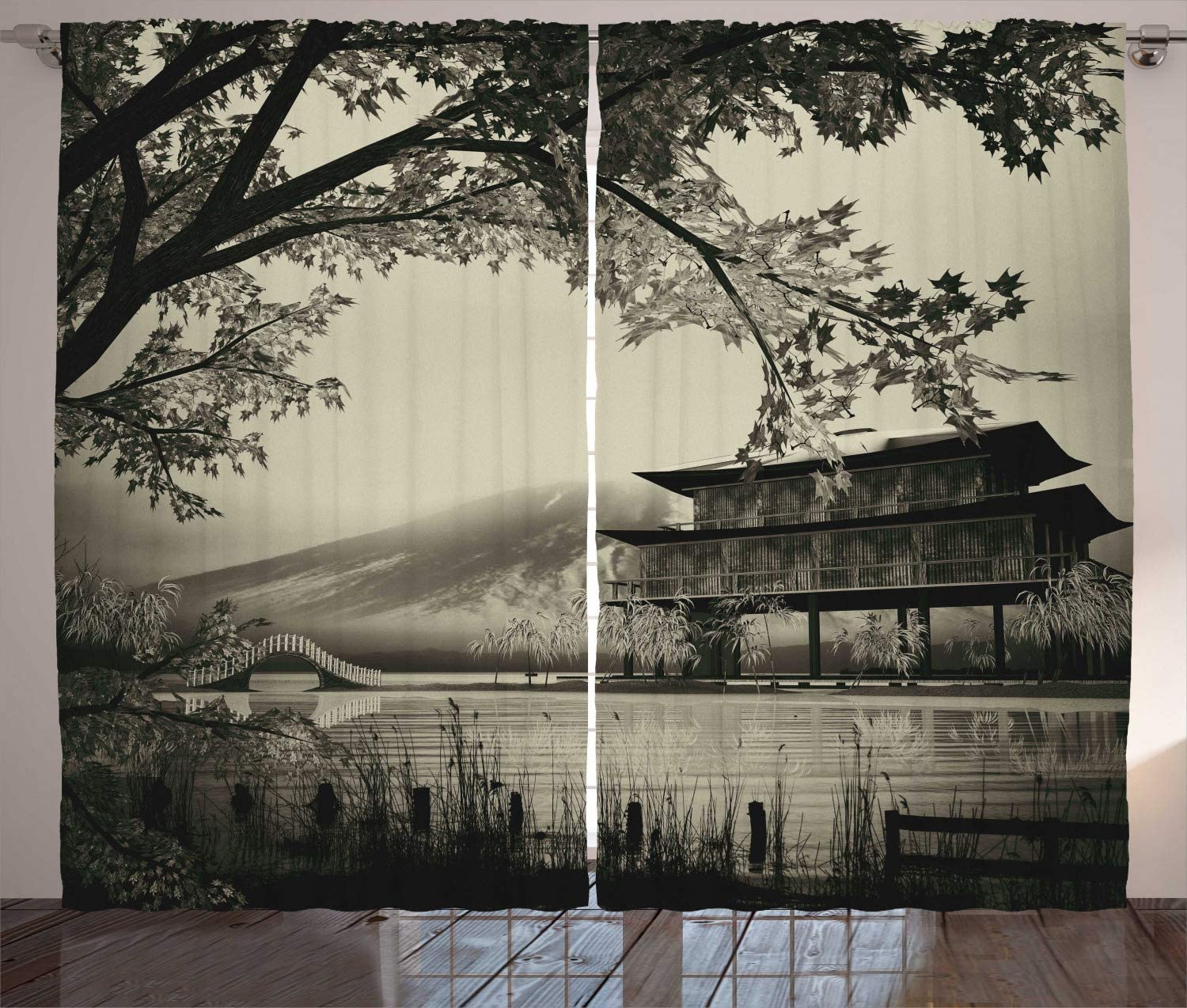Ambesonne Asian Curtains, Long Exposure Building Traditional Picture Illustration, Living Room Bedroom Window Drapes 2 Panel Set, 108X 96Inches, Sepia