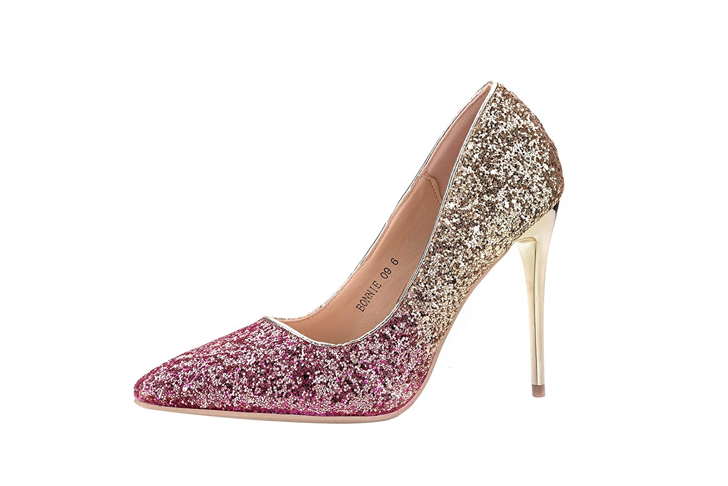 Mila Lady BONNIE09 Women Fashion Embellished Sparkles Contrast Color Pointed Sexy Toe Pumps High Heel Stilettos Sexy Pointed Slip On Dress Shoes B073SS6M3N 8|Fuchsia 2d7384
