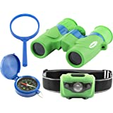 Explorer Set for Kids: Binoculars, LED Headlamp Flashlight, Compass, Magnifying Glass: Fun and Educational; Indoor and Outdoor Set for Kids; Bird and Nature Watching, Camping, Sports, Play; Great Gift