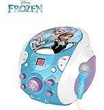 Machine karaoke pour enfants Enceinte avec microphone CD+G DC et illustrations representant Anna, Elsa et Olaf (Disney Frozen)