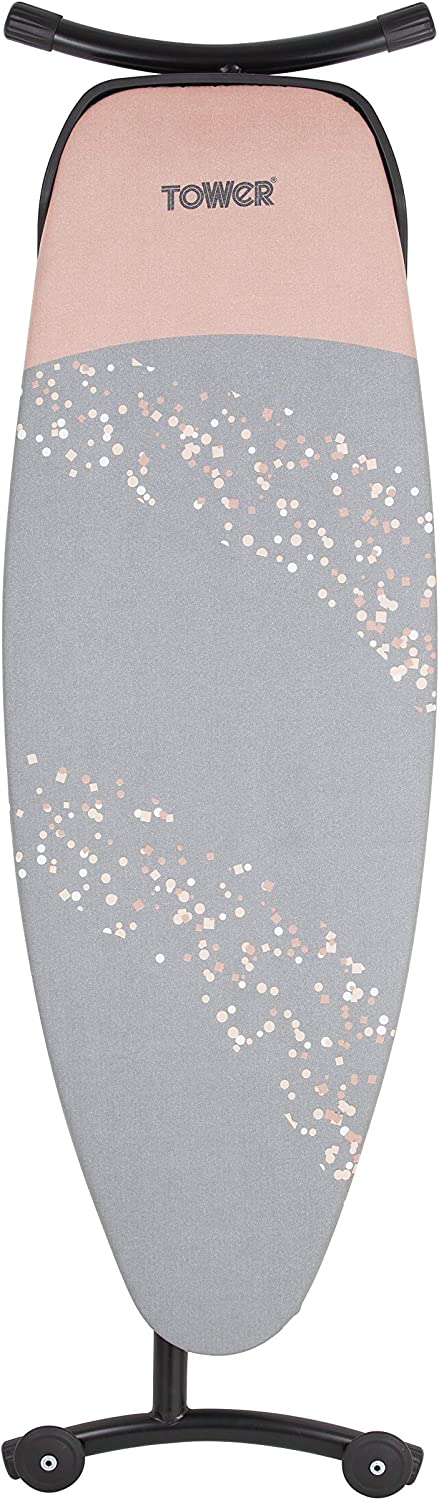 Steel Mesh Surface Suitable for Steam Generator Irons H x W x D Adjustable Height with Locking Mechanism Tower T873001RGB Rose Gold Ironing Board 159 x 43 x 6 cm