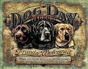 "Desperate Enterprises Dog Day Acres Tin Sign, 16"" W x 12.5"" H"