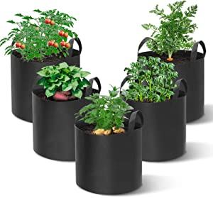king do way Vegetable Grow Bags 5 Pack 20 Gallon Plant Grow Bags Garden Growing Bag Planting Tomato Fabric Pots Garden Planter Container with Strap Handles for Home,Potato,Carrot Planter Bags