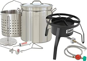 Enterprises Oversized Big Turkey Fryer Complete Kit 44 Quart Stainless Stockpot w/Steel Burner Turkeys 25+ Pounds or Diameter of 13.5""