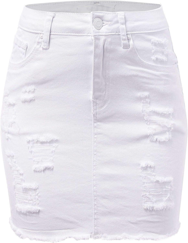 FashionMille Women Popular Mid Waisted Stretch Comfy Denim Mini Skirt w Pockets