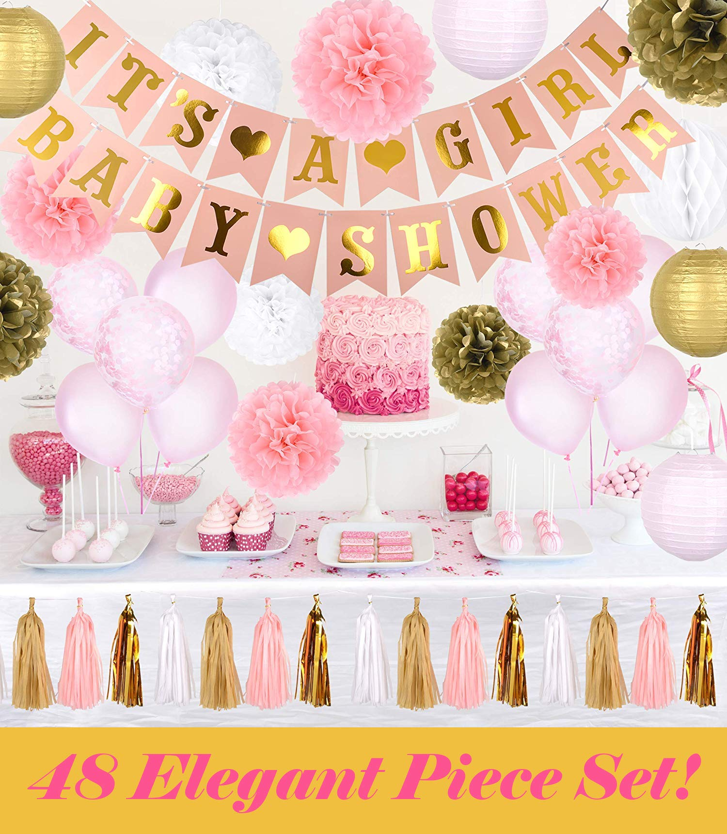Baby Shower Decorations for Girls | Elegant Pink, White, and Gold Shower Theme Decor | Complete Party Kit Including Tablecloth, Banner & Balloons | 48-Piece Set