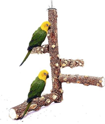 ATB2U Bird Perch Nature Wood Stand Birdcage Stands for 1-2pcs Small Medium Parrots Branch Platform Paw Grinding Stick Bird Parrot Toy with Parrot Parakeet