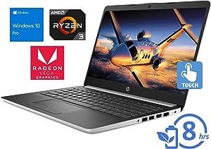"HP 14 Laptop, 14"" HD Touch Display, AMD Ryzen 3 3200U Upto 3.5GHz, 16GB RAM, 512GB SSD, Vega 3, HDMI, Card Reader, Wi-Fi, Bluetooth, Windows 10 Pro"