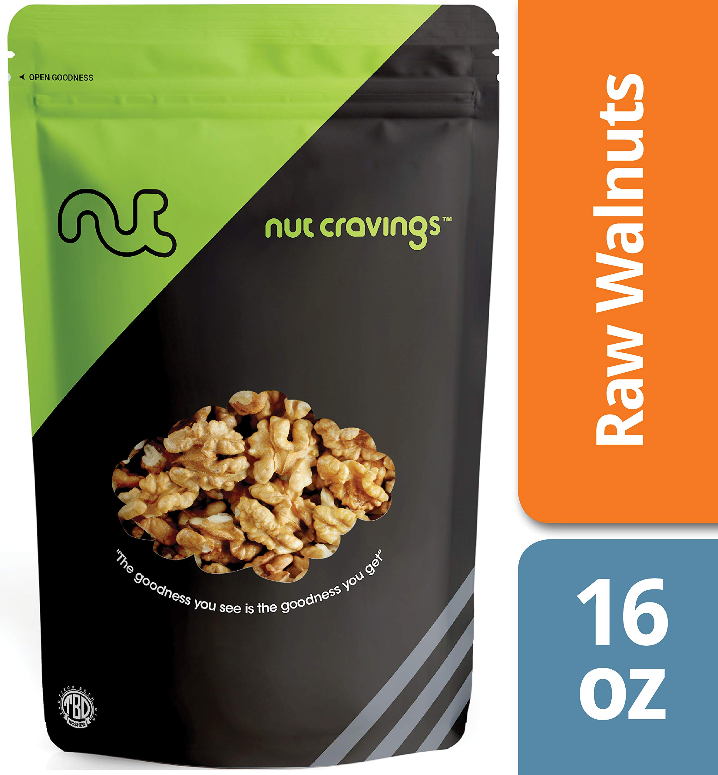Nut Cravings California Raw Walnuts - 100% All Natural Shelled Halves and Pieces - 16 Ounce