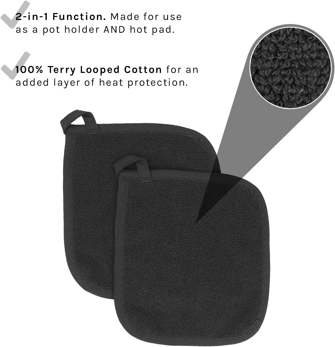 Ritz Royale Collection 100% Cotton Terry Cloth Pot Holder Set, Kitchen Hot Pad, 2-Pack, Black: Home & Kitchen