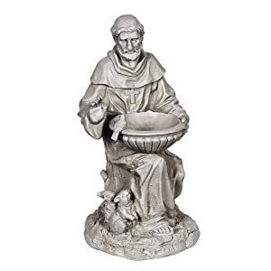 Exhart St. Francis of Assisi Garden Statue - Durable Resin Statue of Saint Francis w/Bird Bath Bowl - Christian Yard Decor, Resin Christian Statues, Garden Art Decorations, 19""