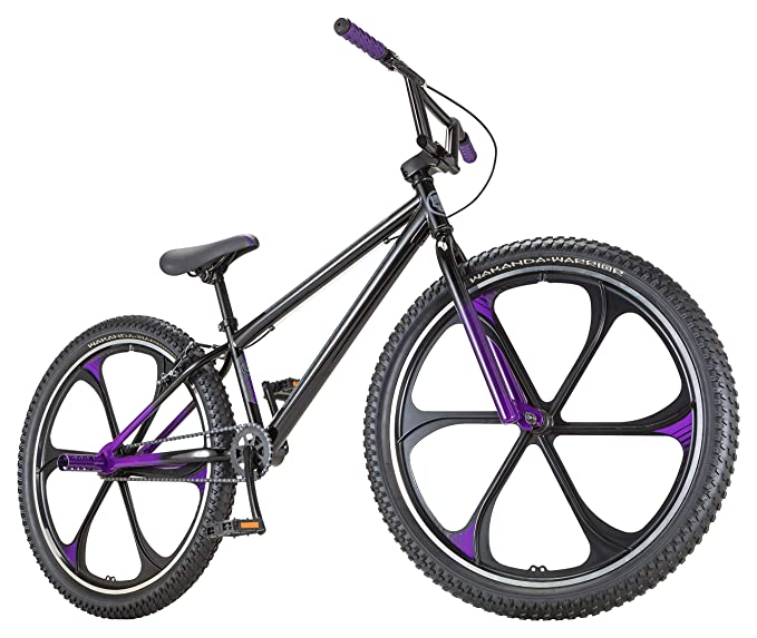 Black Panther Freestyle BMX Bike by Schwinn, Featuring Durable Steel Frame, Single-Speed Drivetrain, and 26-Inch Alloy Mag Wheels, Great for the Bike Park or Cruising the Neighborhood, in Black/Purple best bmx bikes