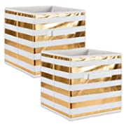 DII Fabric Storage Bins for Nursery, Offices, & Home Organization, Containers Are Made To Fit Standard Cube Organizers (11x11x11 ) Stripe Gold - Set of 2
