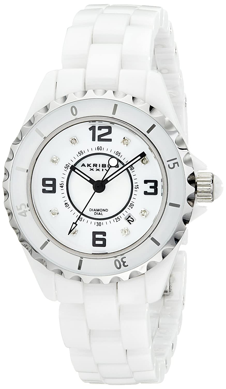Akribos XXIV Women 's ak485wt-nダイヤモンド付きホワイトセラミックブレスレット腕時計 B00AJD5EQ8