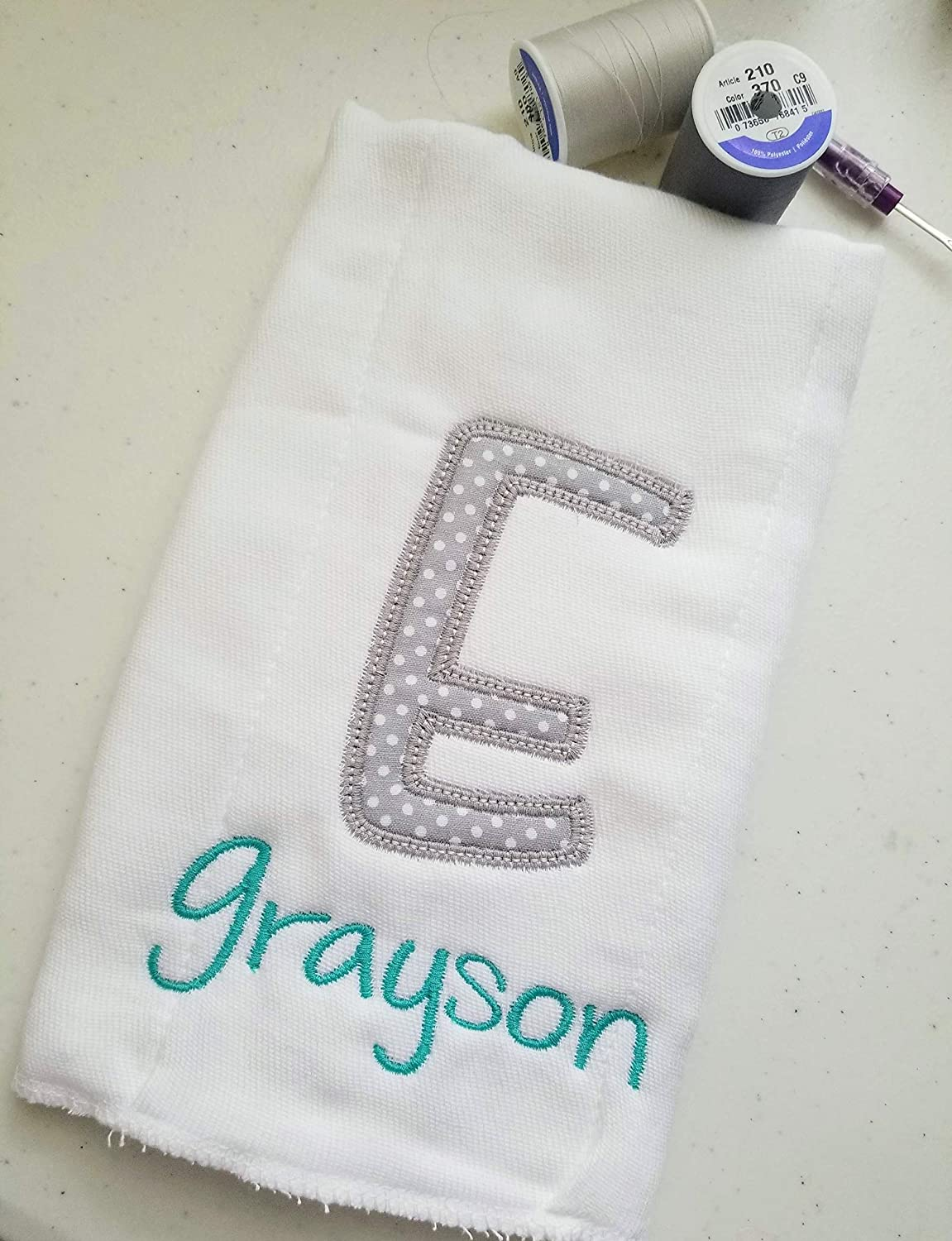 Name and Initial Personalized Burp Cloths