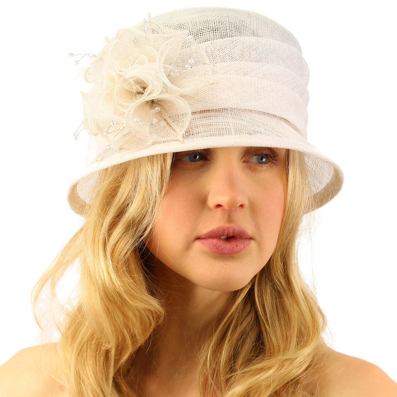Summer Fancy 1920s Flapper Sinamay Trio Floral Cloche Bucket Church Hat White