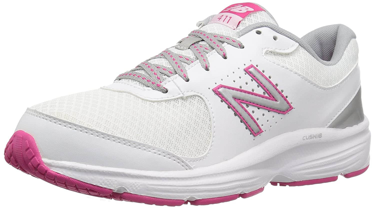 New Balance Women's WW411v2 Walking Shoe B00V3QT9KC 12 D US|White/Pink