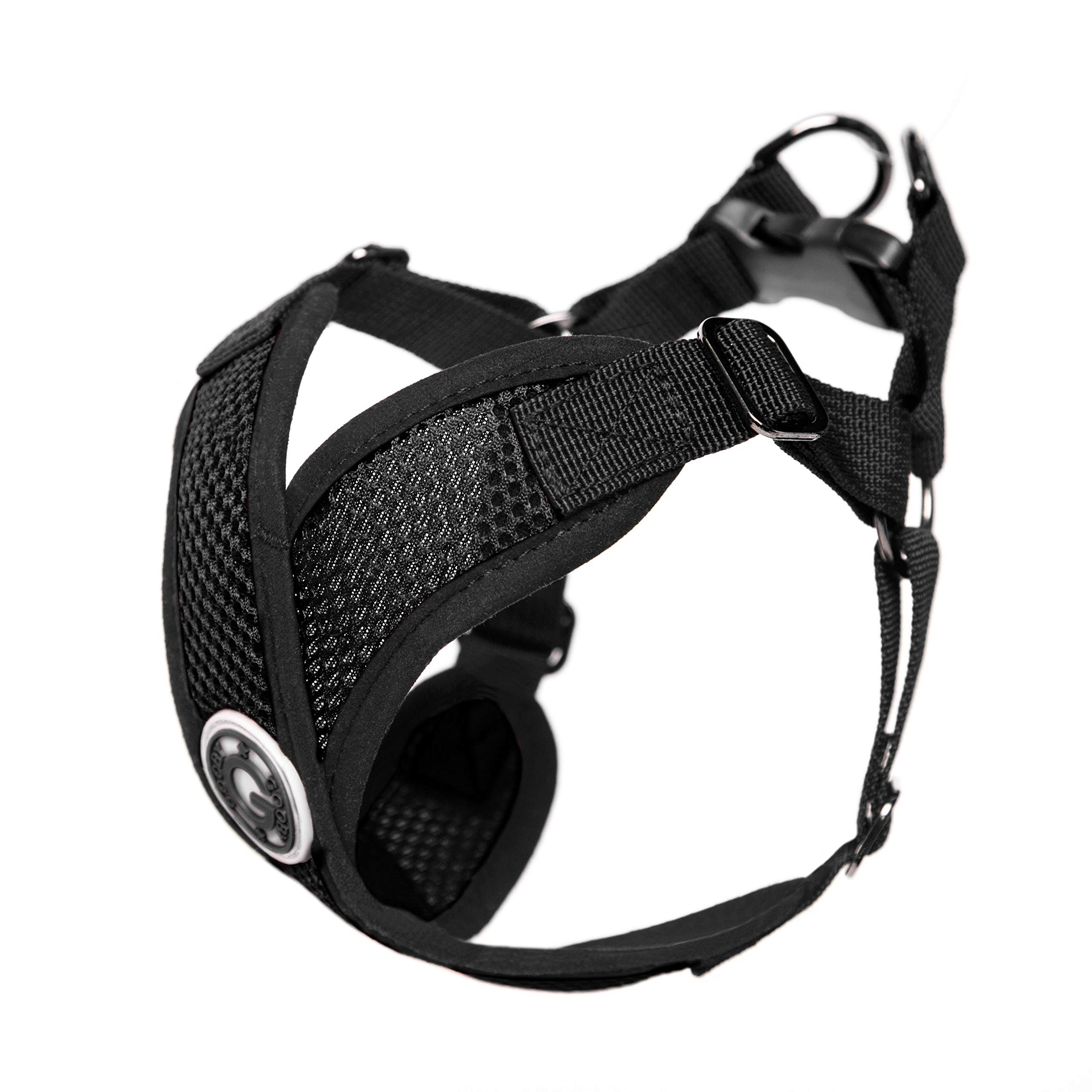 Gooby - Comfort X Step-in Harness, Choke Free Small Dog Harness with Micro Suede Trimming and Patented X Frame, Black, Medium