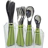 EXZACT EX153 24 Pezzi Posate in Acciaio Inox in Un Contenitore in plastica - Manici Colorati - 6 forchette, 6 coltelli, 6 cucchiai da Cena, 6 cucchiaini da tè - Verde