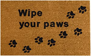 23.5 x 15.75 Inch Home Wipe Your Paws Coir Doormat - Oversized Welcome Mat with Black Paw Prints and Natural Fade