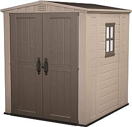 Keter - Caseta de jardín exterior Factor 6x6 con escuadra incluida, Color marrón / Beige