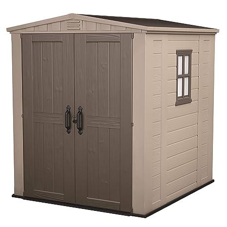 Keter - Caseta de jardín exterior Factor 6x6 con escuadra incluida. Color marrón / Beige