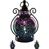 "V&M VALERY MADELYN Decorative Candle Lanterns,Mercury Glass Sphere Light,LED Tabletop Lamps,Battery Operated Hanging Lantern for Indoors and Outdoor Decoration 6"" Diameter(Purple)"