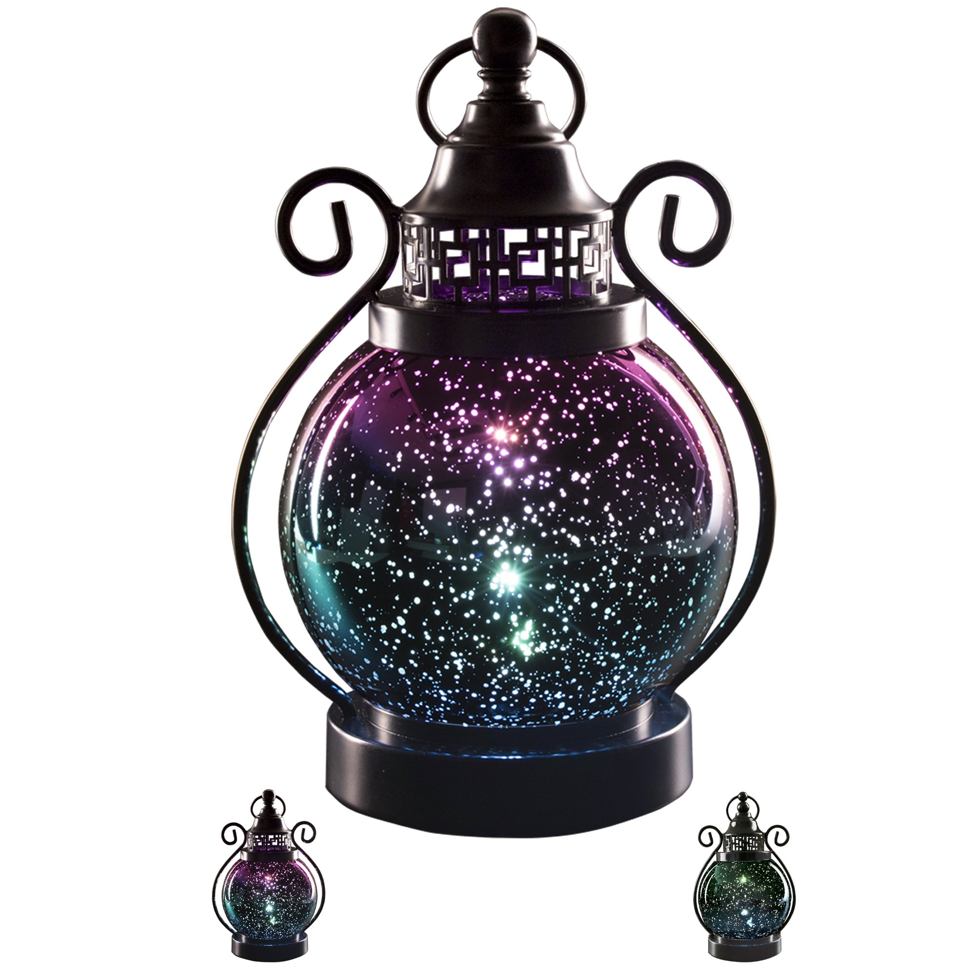 V&M VALERY MADELYN Decorative Candle Lanterns,Mercury Glass Sphere Light,LED Tabletop Lamps,Battery Operated Hanging Lantern for Indoors and Outdoor Decoration 6'' Diameter(Purple)