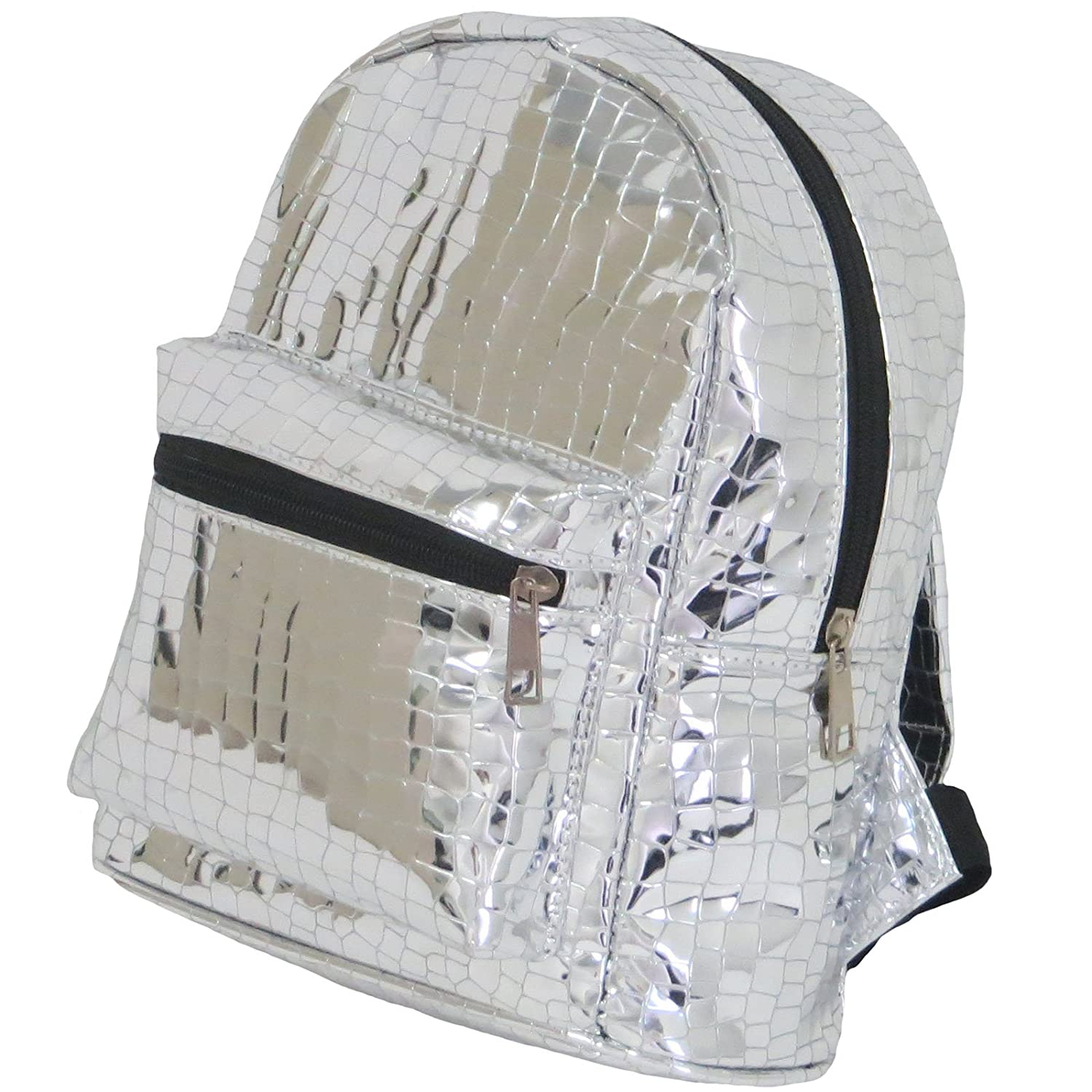 Holographic luminous mirror metallic silver backpack crocodile geometric PU leather for girls and women