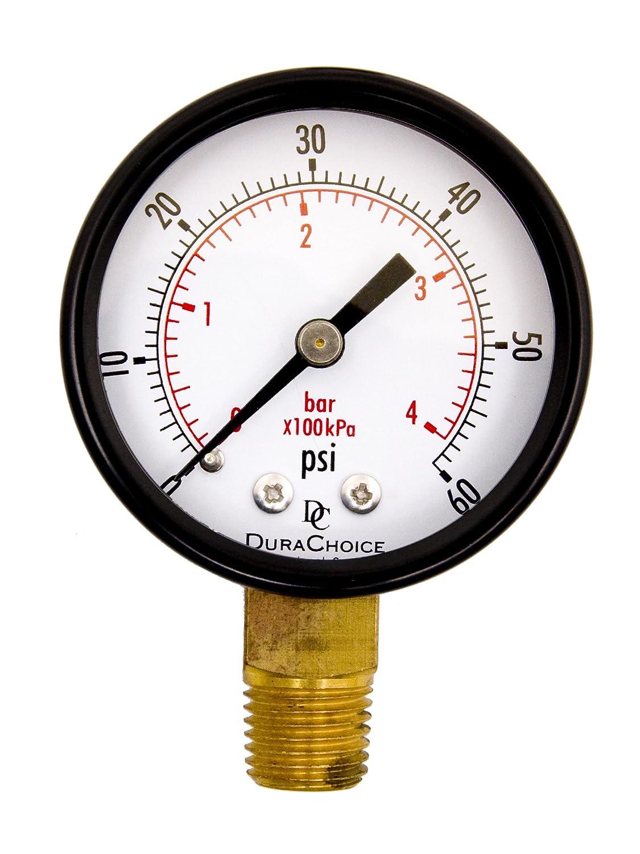 0-160PSI Gas Oil 1//4 NPT Lower Mount 2 Pool Spa Filter Utility Pressure Gauge for Water Black Steel Case