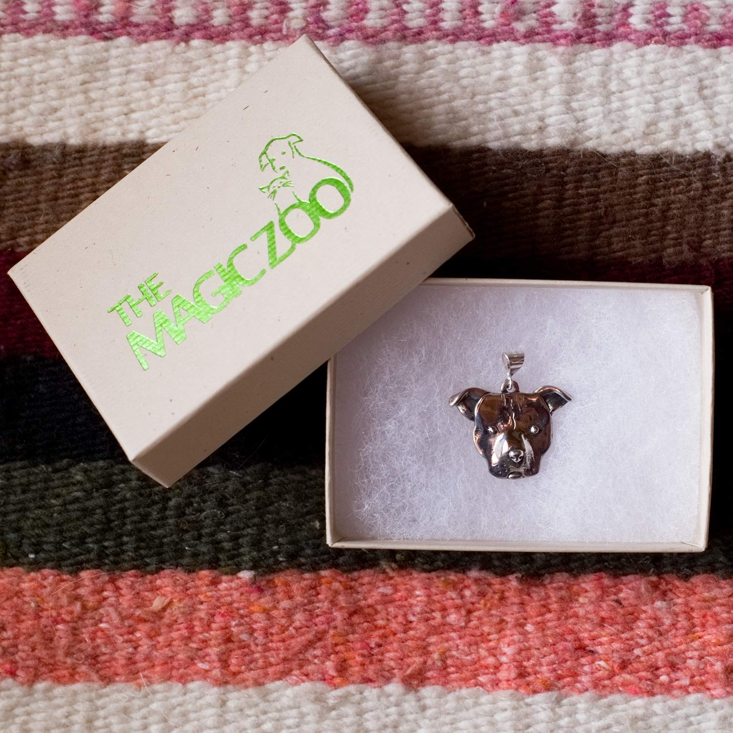The Magic Zoo Sterling Silver Pit Bull Large Pendant