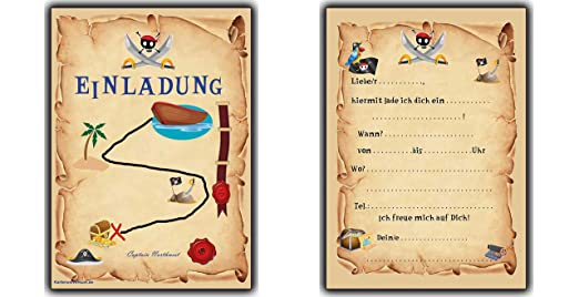 Einladungskarten Set Als Schatzkarte Piraten Party Pirat Schatzsuche Jungen  Mädchen   12 Stück Schatzinsel Einladung Piratengeburtstag  Geburtstagseinladung ...